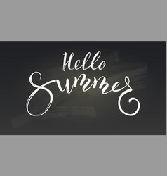 Hello summer calligraphy lettering on black vector