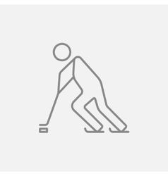 Hockey player line icon vector