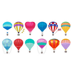 hot air balloon romantic colorful flying vector image