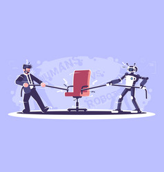 Human vs robot workers flat humanoid and manager vector