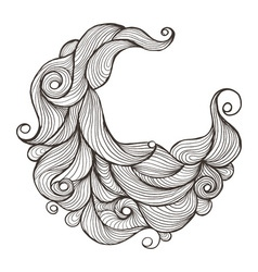 Ink doodle water or hair waves vector image