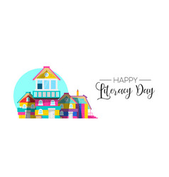 International literacy day book house web banner vector