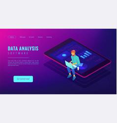 Isometric big data analysis landing page concept vector