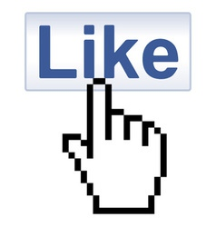 Like Button and pixelated Hand Cursor vector image