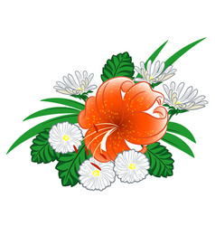 Lilies and daisies vector