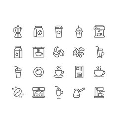 line coffee icons vector image