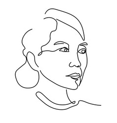 linear portrait asian woman profile isolated vector image