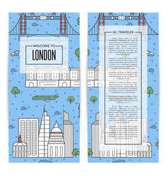 london traveling flyers set in linear style vector image