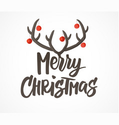 Merry christmas card hand drawn lettering vector