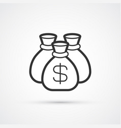 money bag flat line black icon eps10 vector image