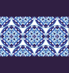 Mosaic classic blue and white seamless vector