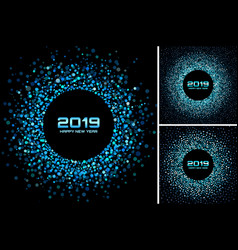 new year 2019 card blue backgrounds set vector image