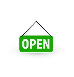 Openning green signboard on door restaurant vector