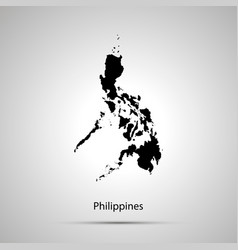 philippines country map simple black silhouette vector image