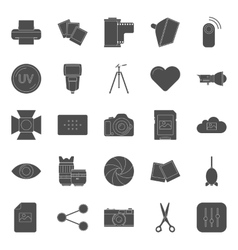 Photo equipment end editing silhouettes icons set vector image