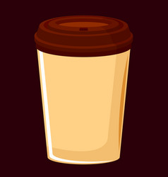 picture of a beige coffee cup with a lid on a vector image