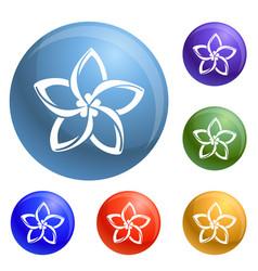 plumeria flower icons set vector image