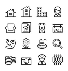 Real estate icon set in thin line style vector
