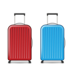 Realistic red and blue large travel plastic vector