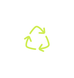 recycling green triangle eco line icon with arrows vector image