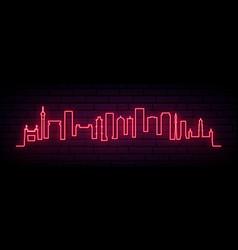 red neon skyline johannesburg city bright vector image