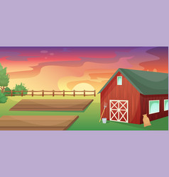 Retro red american barn in an agricultural field vector