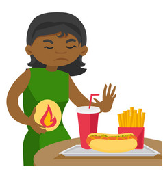 Sad african woman suffering from heartburn vector