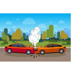 Scene of car accident danger on road concept vector