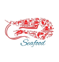 Seafood poster or symbol in shape of shrimp vector
