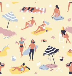 seamless pattern with people relaxing on sand vector image