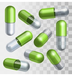 Set of green and transparent medical capsules in vector image