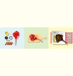Set tomahawk steak recipe vector