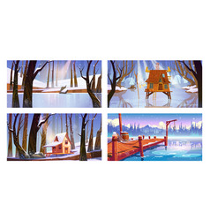 Set winter landscape backgrounds with houses vector