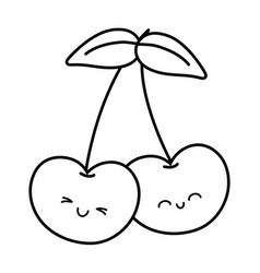 Smiling cherries icon black and white vector