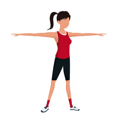 sport girl fitness training stand vector image