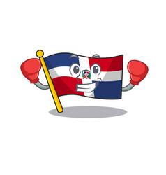 Sporty boxing flag dominican republic mascot vector