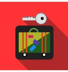 Suitcase in storage box icon flat style vector image