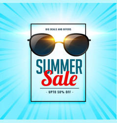 summer sale background with shiny sunglasses vector image