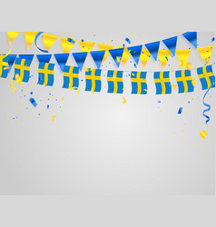 Sweden flags celebration background template with vector