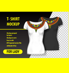 T-shirt mockup with african ornaments in two vector