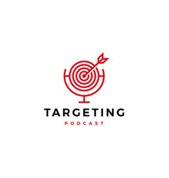 Targeting podcast logo icon for marketing blog vector