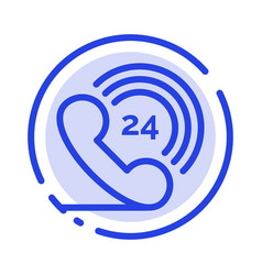 Telephone phone ringing 24 blue dotted line line vector