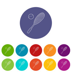 tennis sport icon outline style vector image