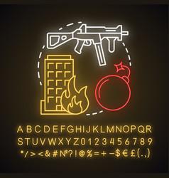 Terrorism neon light concept icon gun violence vector