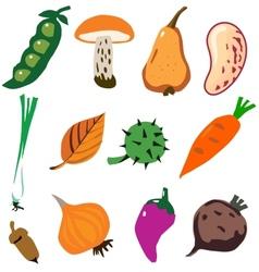 Vegetables doodle cartoon set vector image