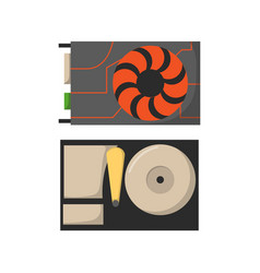 video card with three outputs computer technology vector image