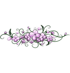 violet flowers on white background vector image