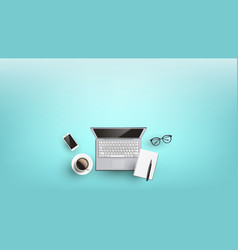 Workplace desk for freelancer flat lay vector