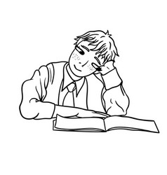 a contour drawing of a pensive student that looks vector image vector image