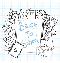 back to school sketchy notebook with lettering vector image vector image